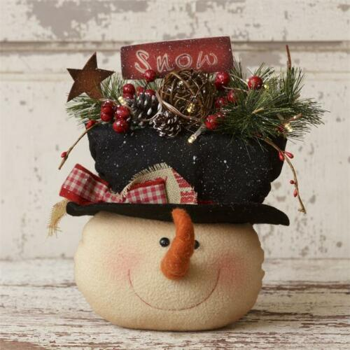 """New Primitive Christmas SNOWMAN TOP HAT LIGHTS Lighted Doll Figure 10/"""""""