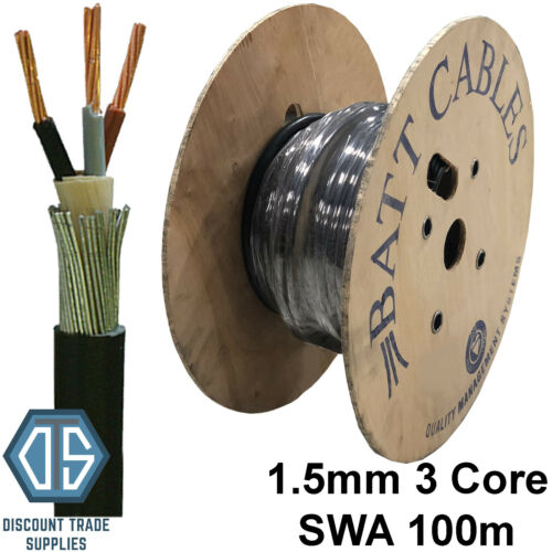 1.5mm 3 Core SWA Steel Wire Armoured Cable 100m BASEC Approved XLPE On DRUM