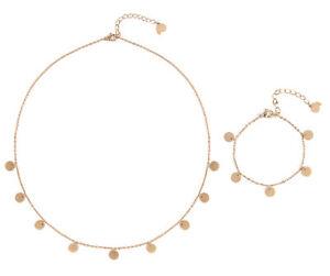 Hilfreich Kette Und Armband In Rosegold Schmuckset Kette Plättchen Und Armkette Kreise