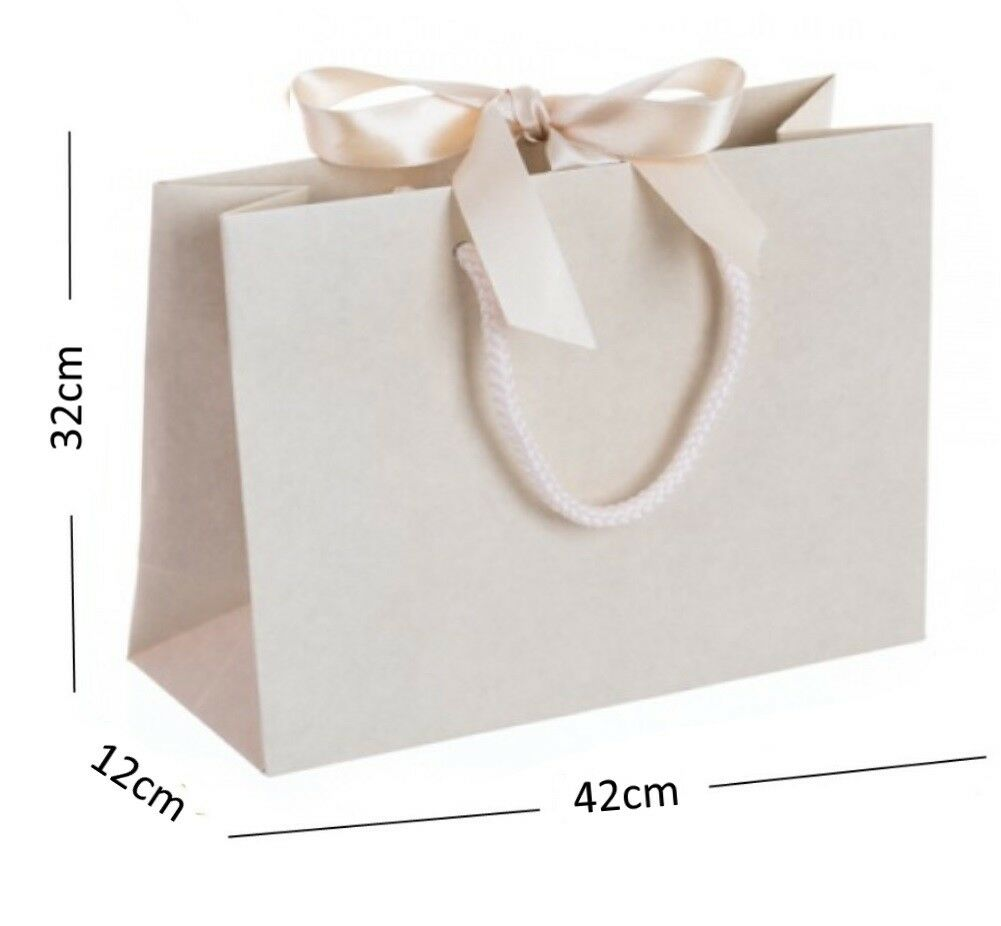 Ivoire vanille grande boutique shop événeHommes Ruban Sacs Cadeau-Corde Poignée événeHommes shop ts Sac 7dfd56