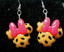 UNIQUE Minnie Mouse Leopard Spots Pink Bow 925 Earrings Disney Resin NORA WINN