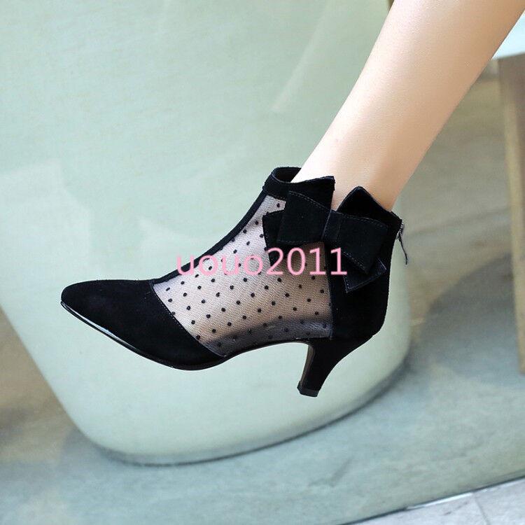 Punto de de de Malla de mujer con moño De Tacón Gatito Moda Zapatos botas al Tobillo Bombas De Puntera Puntiaguda  hasta un 70% de descuento