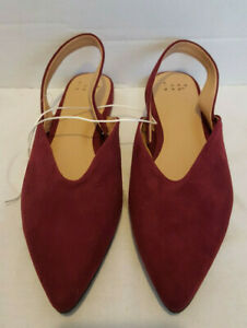 A-New-Day-Womens-shoes-with-Strap-with-open-Heel-Burgundy-Micro-Suede-6-5