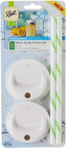 Ball Sip and Straw Lids Fits Wide Mouth Jars 4 Straws and 4 Lids