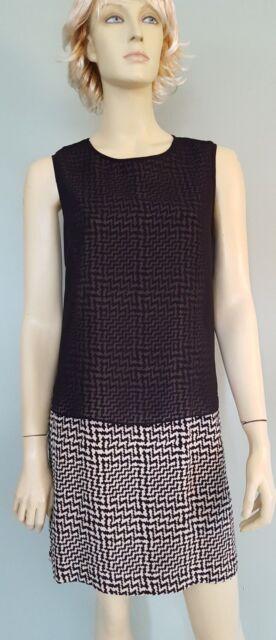 Rag & Bone Silk Layered Tunic Dress Sz 8 Black White Geometric Design