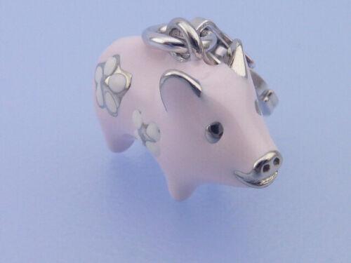 Echt 925 Sterling Silber Anhänger Charm rhodiniert Schwein hell rosa Blüme in 3D