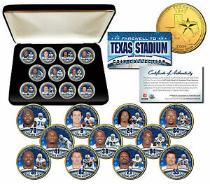 DALLAS-COWBOYS-Texas-Stadium-Farewell-11-Coin-Set-Gold-State-Quarters-w-Gift-Box
