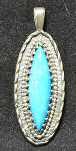 #3720 - 1.5 Sterling Silver & Turquoise Pendant