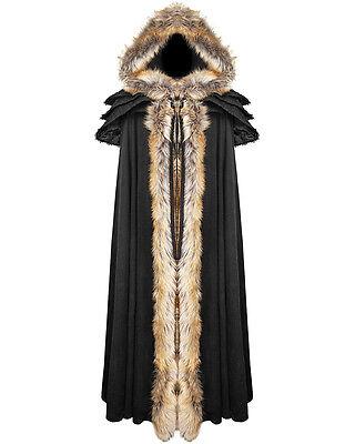 Punk Rave Womens Cloak Coat Jacket Black Fux Fur Gothic Steampunk VTG Regency