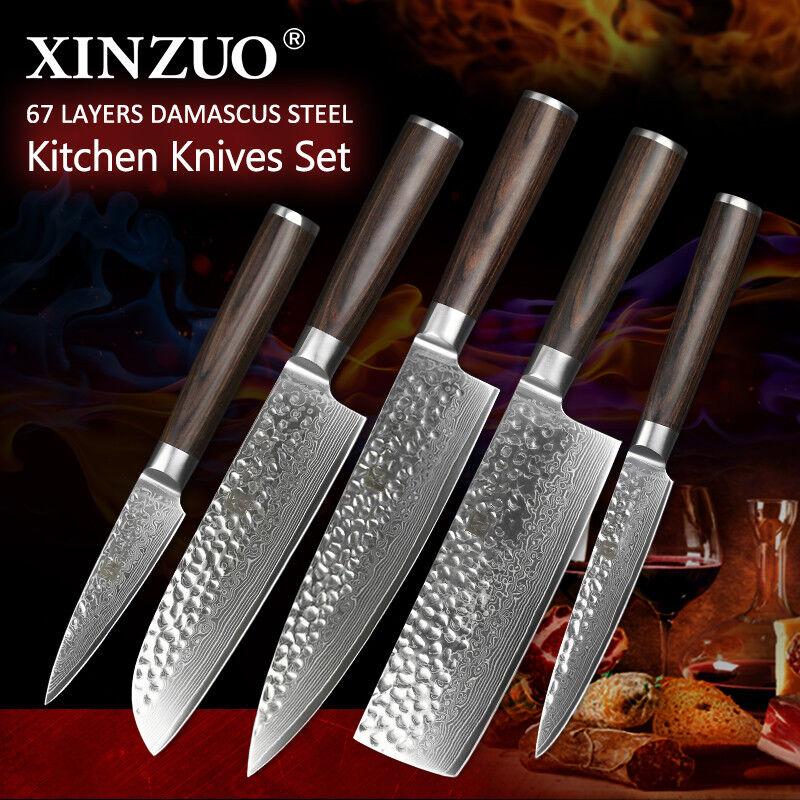 5Pcs Knife Set Kitchen Knives Damascus Steel 67 Layers Lasting Sharp Blade Chef