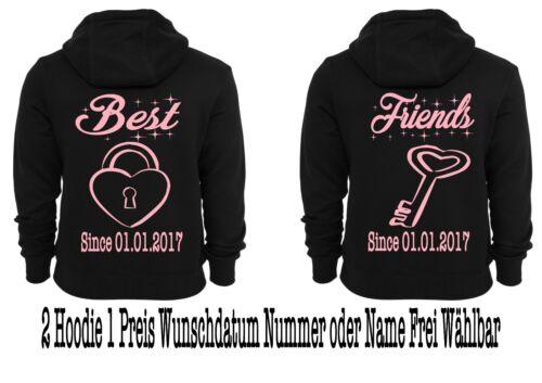 Hoodie Pullover mit Best Friends Motiv 2 Stück Partnerlook Hipster div Motive