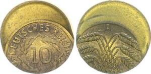 Weimar, 10 Pfennig 1924 A, Lack Coinage: 35% Dezentriert, No Ribbed Edge 46506
