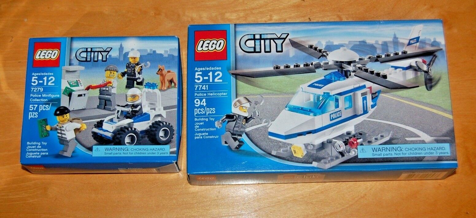 Lego City Police Helicopter 7741 Police Minifigure Collection