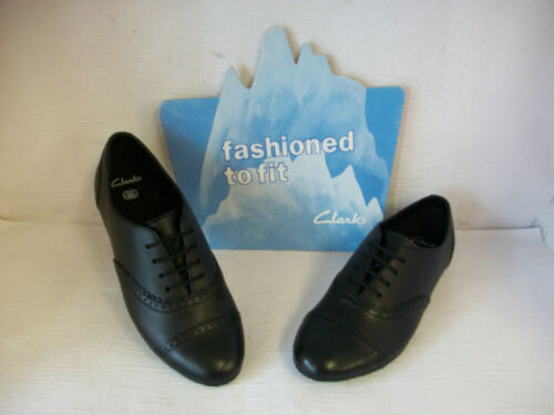 Girls Clarks Erica Lace Black Leather Lace Up Flat School Shoes