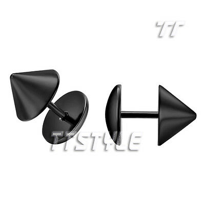 TT Surgical Steel Tapered Fake Ear Plug Earrings Choose Color Size A Pair (BE90)