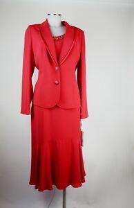 Bagatelle Costume 42 Dreiteiler Rock, Top, Blazer, Rouge élégant Neuf Avec étiquette-afficher Le Titre D'origine