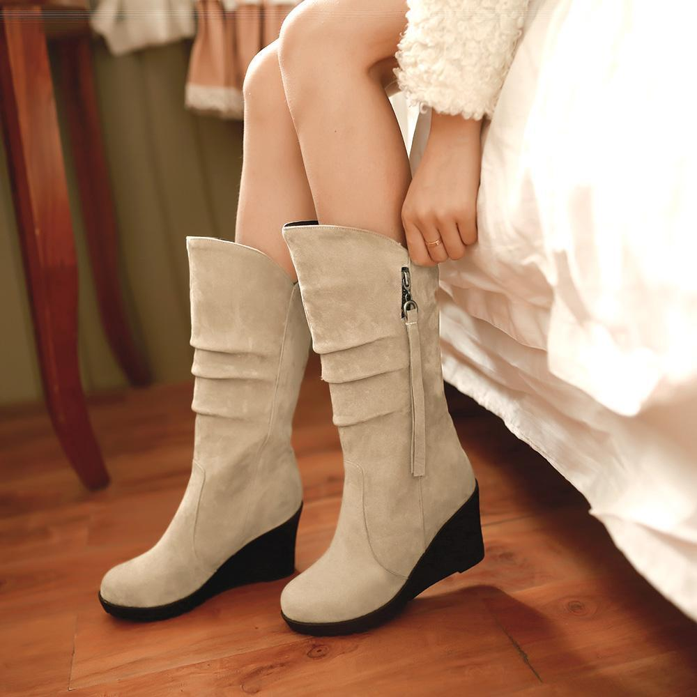 New Women Mid Calf Boots Faux Suede Ladies Zipper Wedge Heel Winter Casual shoes