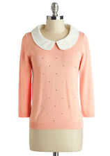 MODCLOTH Femme Finesse Pink Top White Peter Pan Collar Vintage Style 3/4 Sleeve