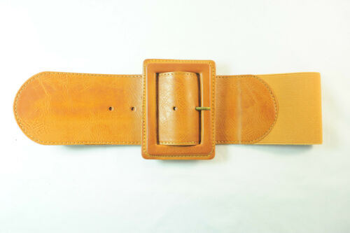 TAN FAUX LEATHER BROWN WIDE COWGIRL LOOK BELT UNIQUE UW4