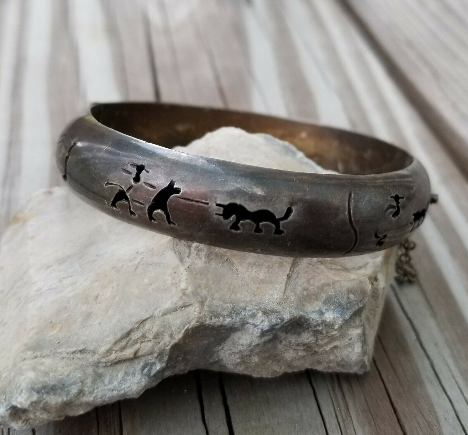 Vintage 925 Sterling Bullfight Story Cutout Hinged Bangle Bracelet Hecho Mexico