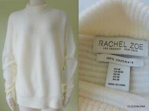 doux Zoe tricot Nwt M Pull taille à cachemire 100 Ivoire Rachel côtelé en 7q7O4I5w