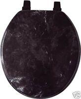BLACK MARBLE LOOK WOOD TOILET SEAT, STANDARD ROUND