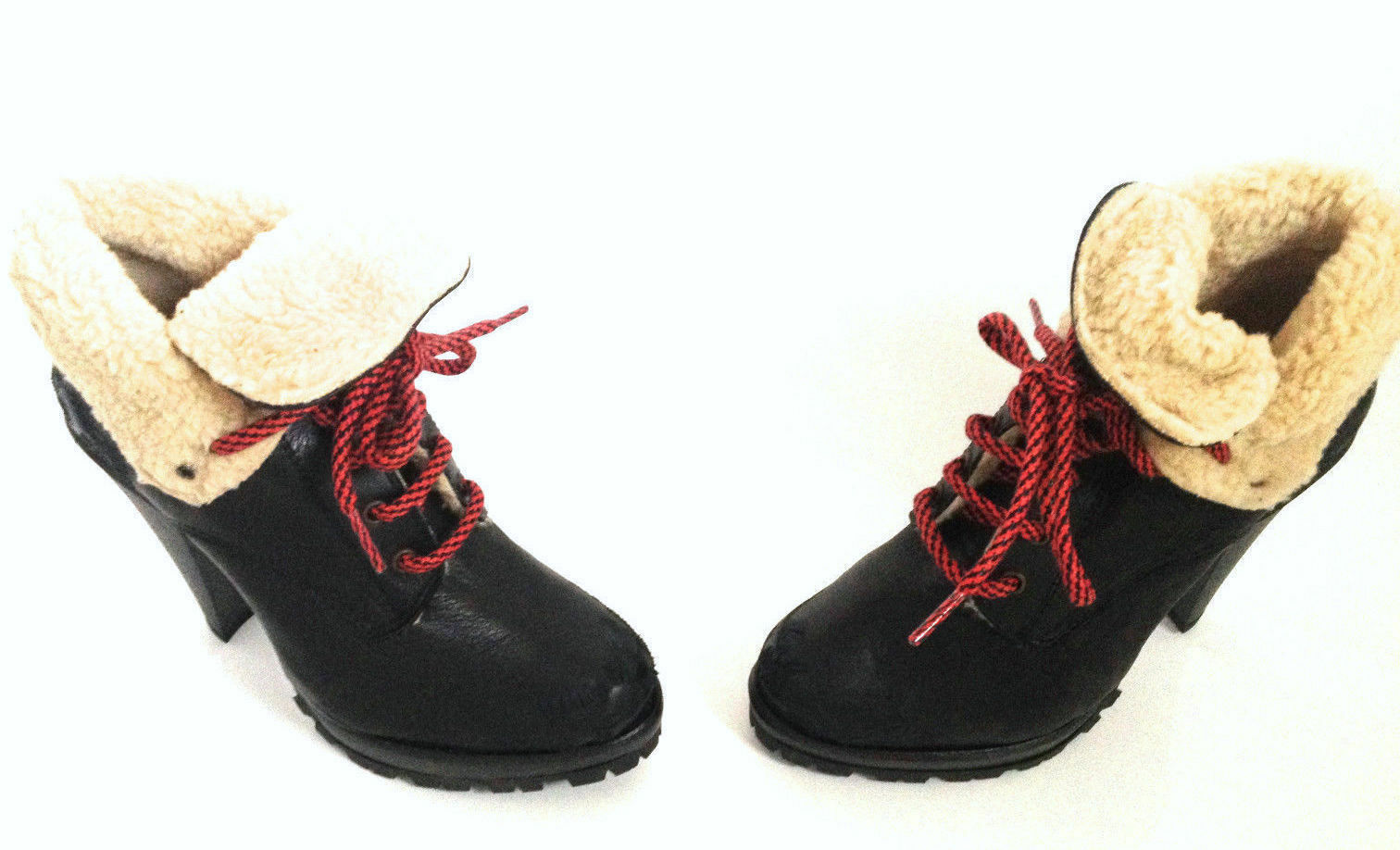 TOPSHOP BLACK FUR LINED REAL LEATHER DISTRESSED EFFECT LACE UP ANKLE BOOTS NEU