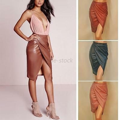 Women High Waist Slim PU Leather Front Slit Skirt  Bodycon Pencil Skirt Elegant