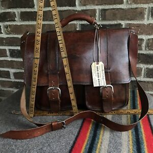 REEDERANG-VINTAGE-1970s-HANDMADE-DISTRESSED-LEATHER-MACBOOK-BRIEFCASE-BAG-R-998