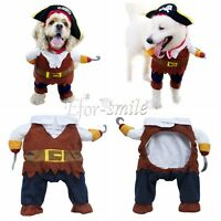 Pet Dog Cat Pirate Captain Halloween Gift Fancy Dress Costume Outfit Clothes S-L