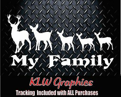 My Deer Family  kids Vinyl Decal Sticker Car Truck Hunting Bow Funny 2500