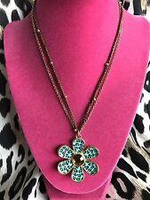 Betsey Johnson Vintage Jungle Fever Blue Leopard LARGE Flower Daisy Necklace