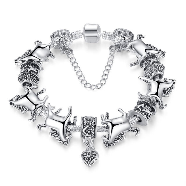 Women Silver Animal Bracelet Gl Beads Bracelets Horse Bangle Fashion La