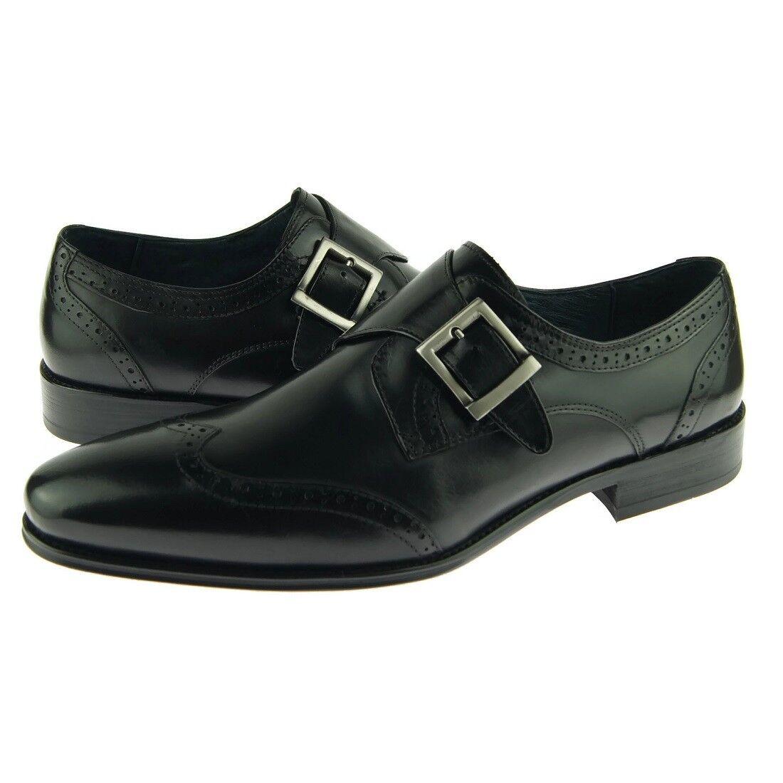 voiturerucci Bout D'Aile Moine Bracelet hommes   de chaussures en cuir, noir