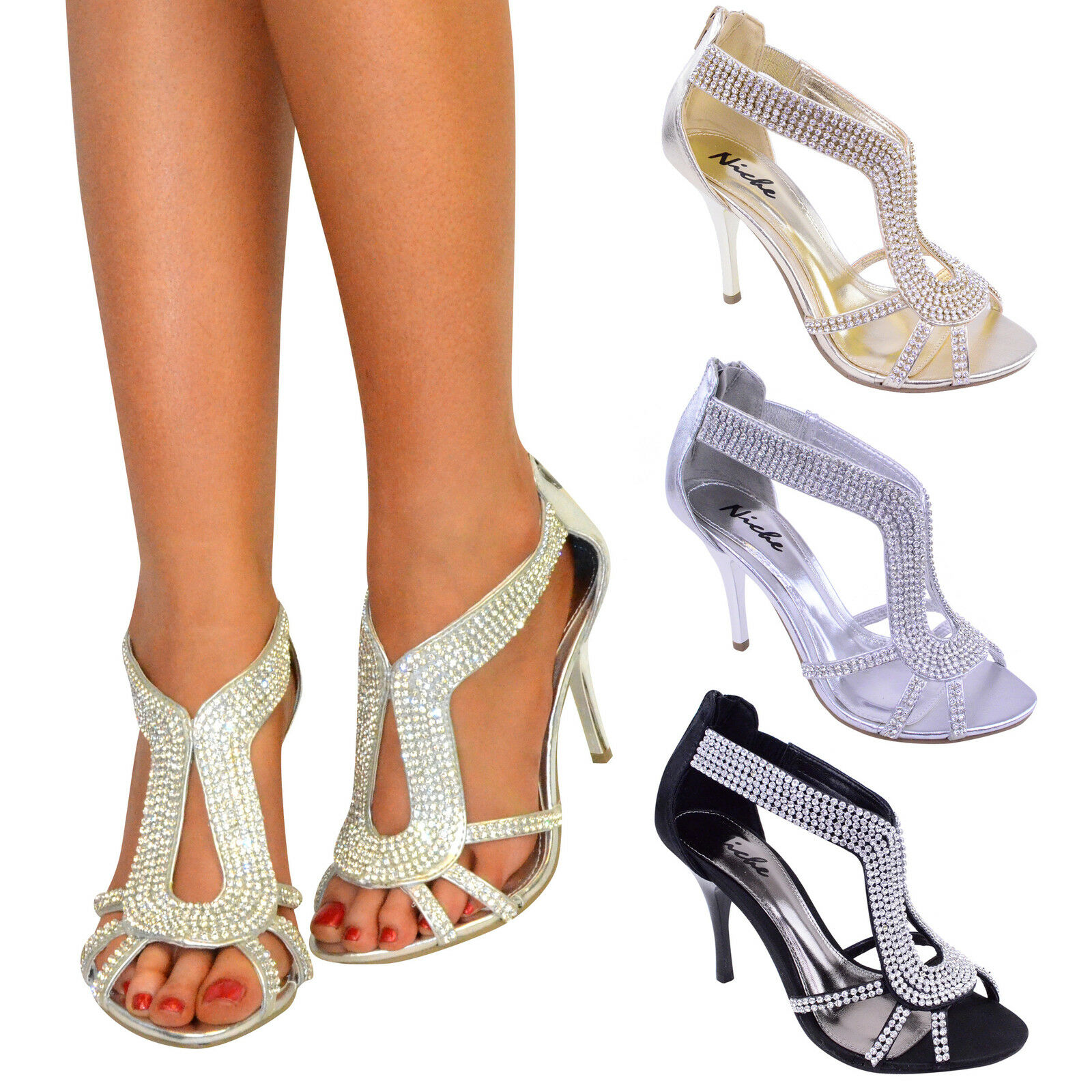 LADIES WOMENS PARTY PROM BRIDAL EVENING FASHION HIGH HEELS SHOES SANDALS SIZE