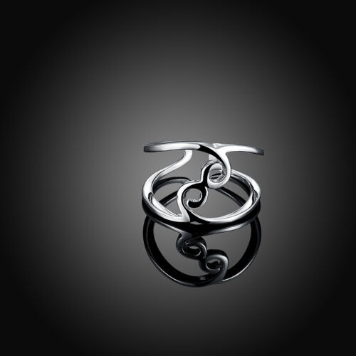 Rose Gold Platinum Plated Fashion Ring Women Open Double Line B151
