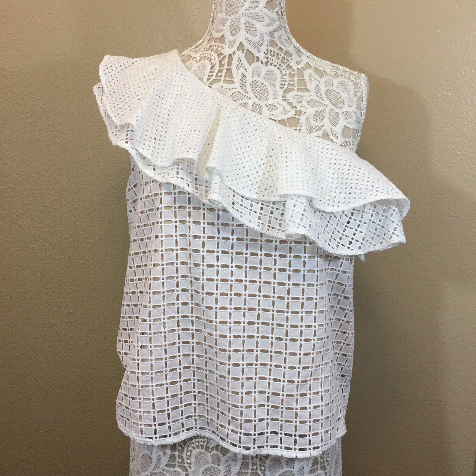 J. Crew Women Shirt Size 8 One Shoulder White Ruffle Lined in tan N161