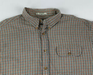 Orvis-Mens-Long-Sleeve-Button-Down-Shirt-Tattersall-Plaid-XL-Flap-Button-Pocket