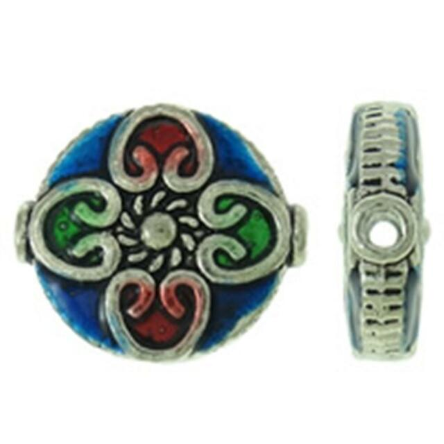 4pc 14mm antique silver finish with enamel flat round beads-2521B