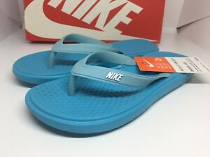 best service 4a3ab 6597a Image is loading NIKE-Solay-Blue-Flip-Flop-Big-Kids-Style-