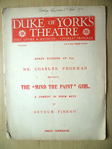 DUKE-OF-YORK-039-S-THEATRE-PROGRAMME-1912-THE-MIND-THE-PAINT-GIRL-by-Arthur-Pinero