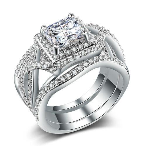 Women Luxury 925 Silver Princess Cut White Sapphire Wedding 3pc Ring Size 6-10