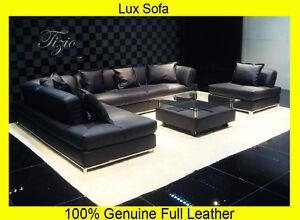 New Large Black 100 Full Italian Leather Corner Sofa Settee Suite