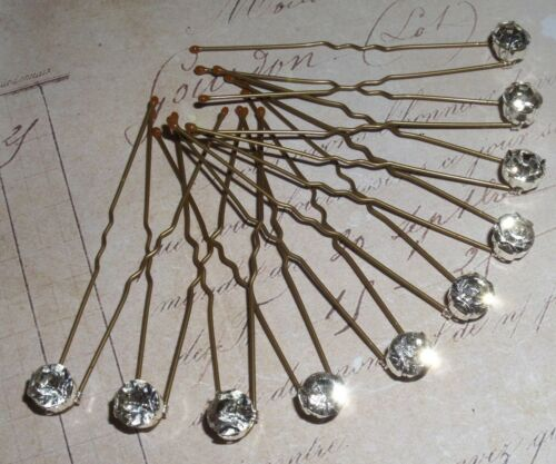 10 x Glass Diamonte Hair Pins,Clips,Bridal,Bridesmaid,Prom,Diamante,Tiara