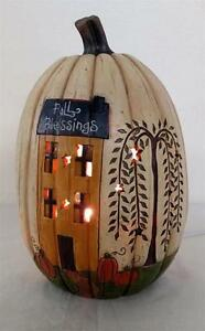 """PRIMITIVE RESIN """"FALL BLESSINGS"""" LIGHTED PUMPKIN WITH HOUSE AND WILLOW TREE"""