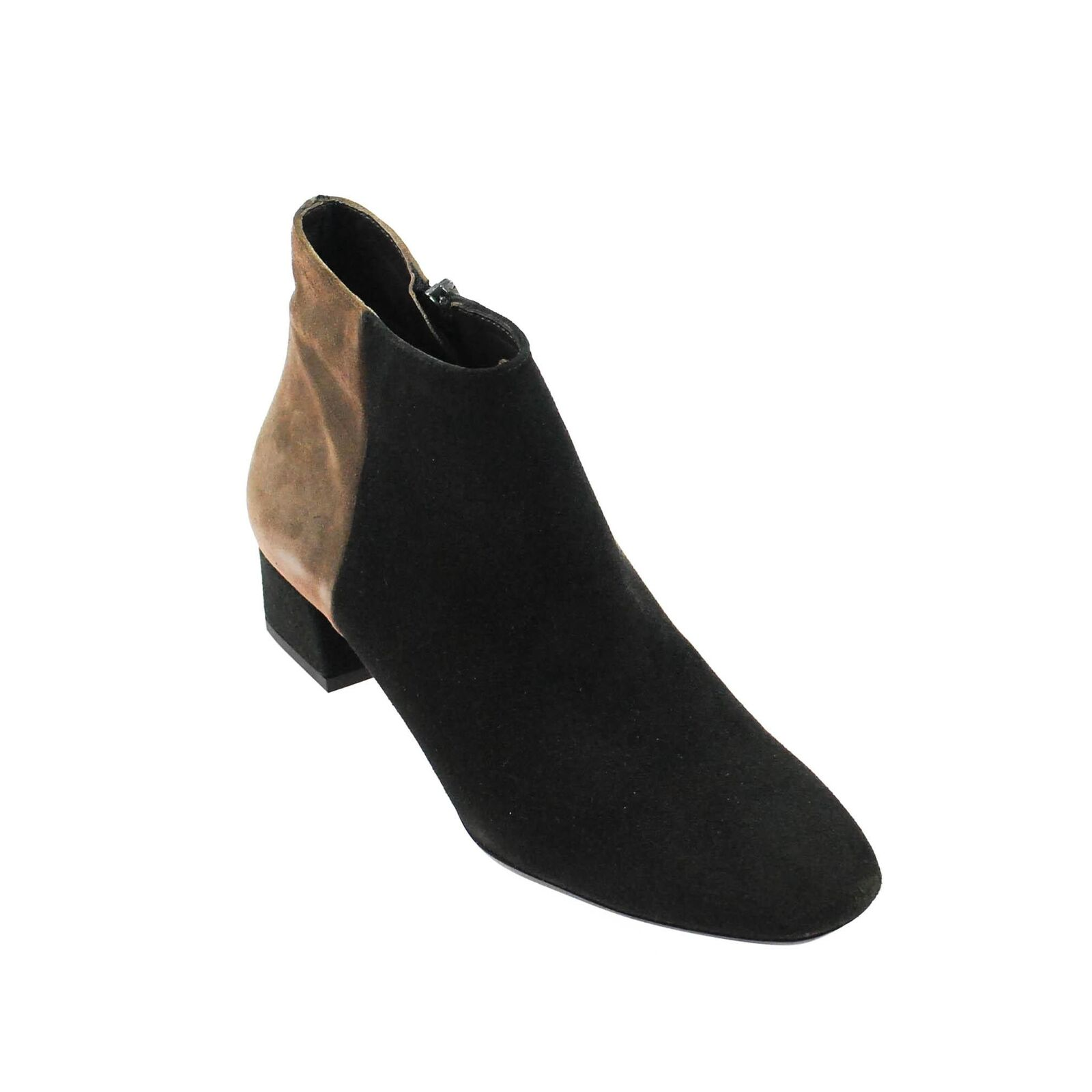 Perlato señora botín de gamuza marrón negro