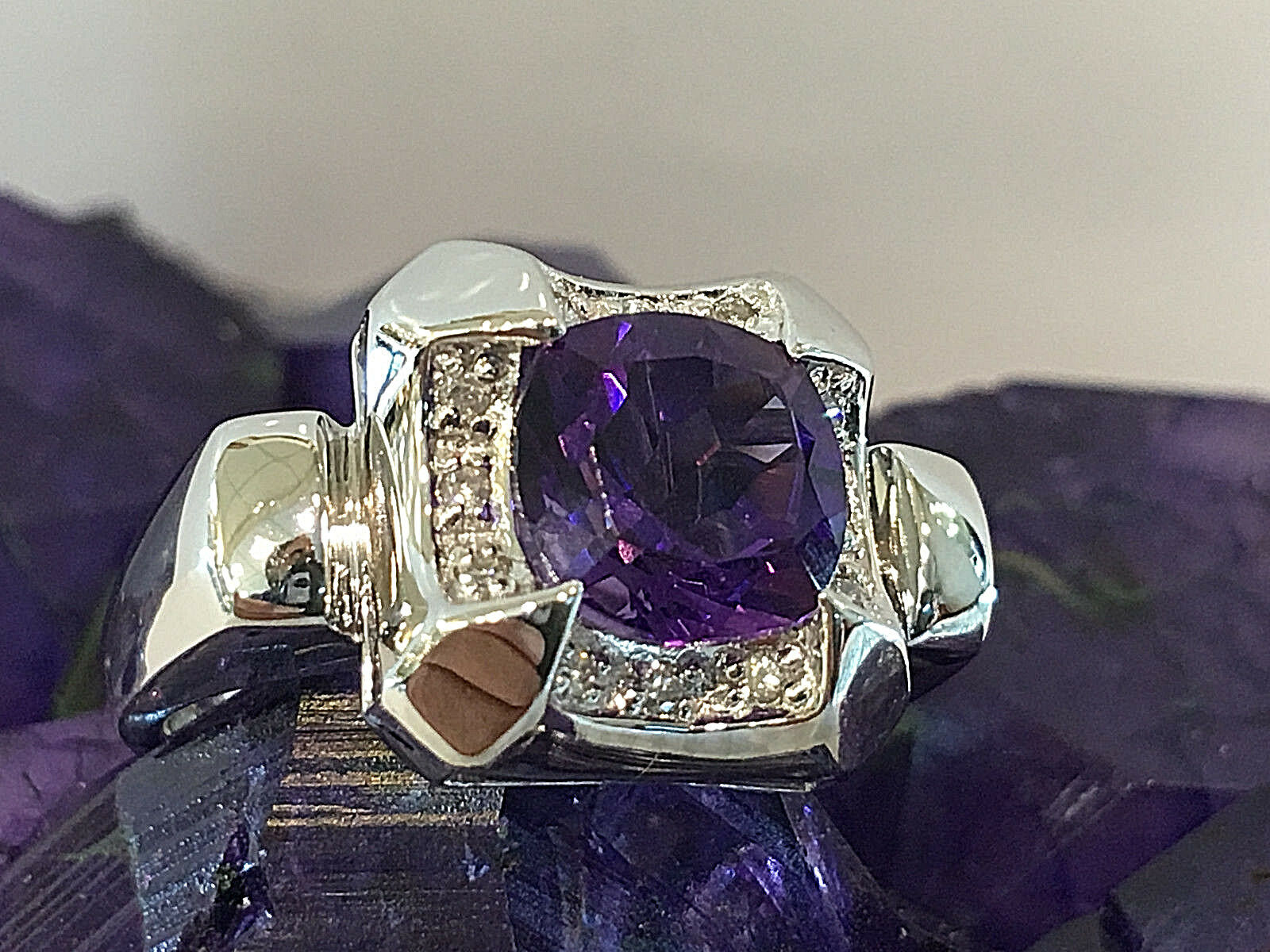 14k white gold Amethyst  and diamonds  Ladies Coctail ring.