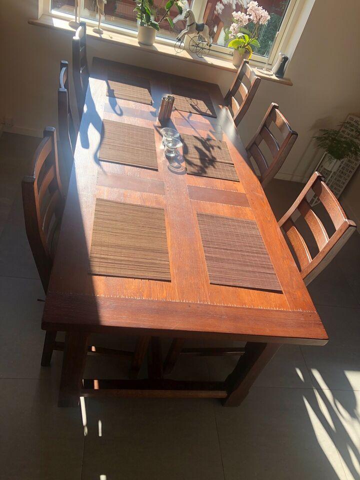 Spisebord m/stole, Træ, b: 100 l: 240