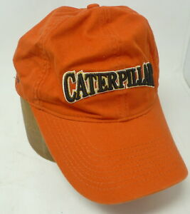 VTG CATERPILLAR Orange Strapback 100% cotton Full Coverage Trucker Hat Cap