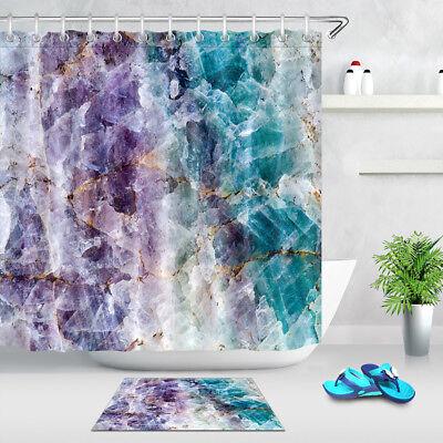 Purple and Turquoise Quartz Stone Shower Curtain Set Golden Letters Bath Decor